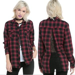 Hot Topic Red & Black Plaid Lace Back Button Shirt